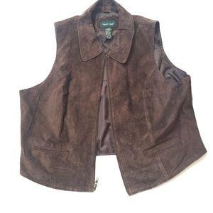 Vintage brown leather vest 20W women's